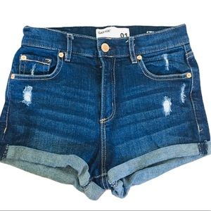 GARAGE Distressed Jean Shorts Dark Denim Size 1